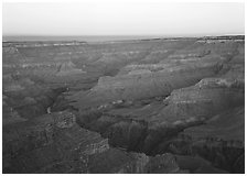 View from Point Sublime, sunset. Grand Canyon National Park ( black and white)