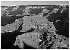 Buttes inside  canyon. Grand Canyon National Park ( black and white)