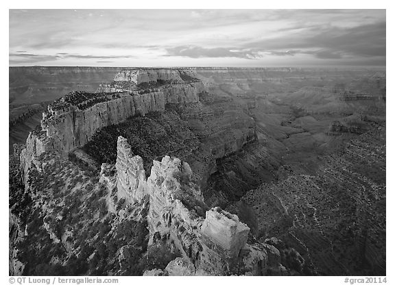 View of Wotans Throne from Cape Royal at sunrise. Grand Canyon National Park (black and white)
