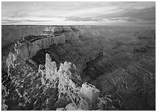 View of Wotans Throne from Cape Royal at sunrise. Grand Canyon National Park ( black and white)
