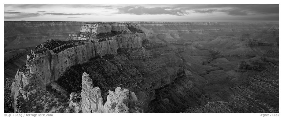Wotan's Throne at sunrise. Grand Canyon National Park (black and white)