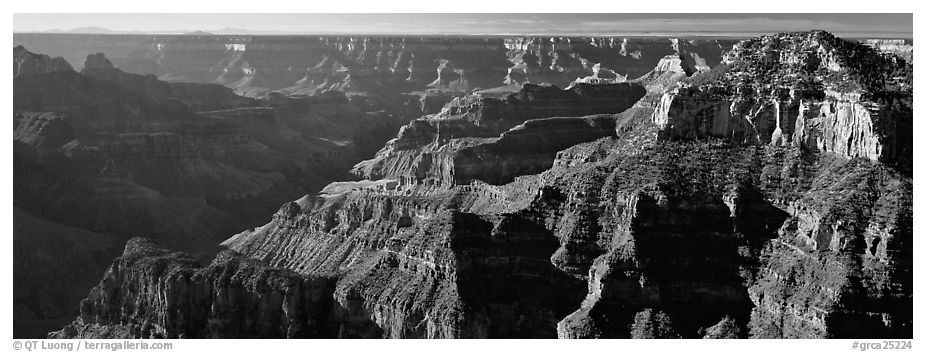 Canyon walls from North Rim. Grand Canyon National Park (black and white)