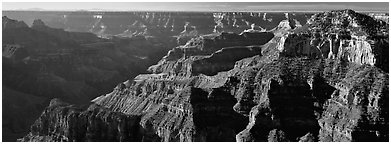 Canyon walls from North Rim. Grand Canyon  National Park (Panoramic black and white)
