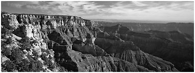 Canyon scenery from Cape Royal. Grand Canyon National Park (Panoramic black and white)