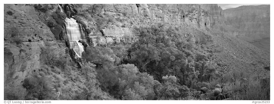 Thunder Spring waterfall. Grand Canyon National Park (black and white)
