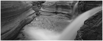 Deer Creek cascading into gorge. Grand Canyon National Park (Panoramic black and white)