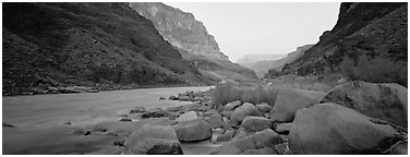 Colorado River at dawn. Grand Canyon  National Park (Panoramic black and white)