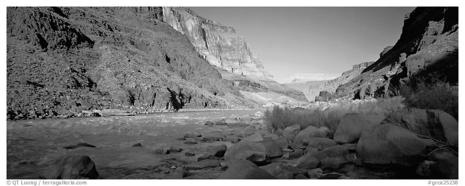 Colorado River at the confluence with Tapeats Creek. Grand Canyon National Park (black and white)