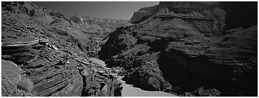 Colorado River flowing through gorge. Grand Canyon National Park (Panoramic black and white)