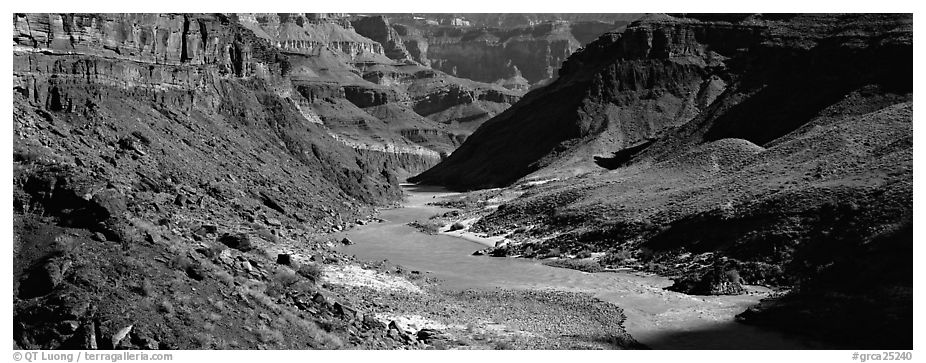 Colorado River meandering through canyon. Grand Canyon National Park (black and white)