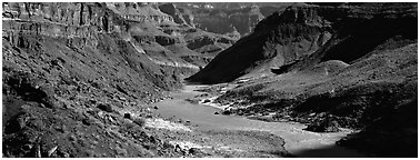 Colorado River meandering through canyon. Grand Canyon National Park (Panoramic black and white)