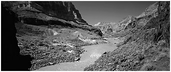 Muddy waters of Colorado River. Grand Canyon National Park (Panoramic black and white)