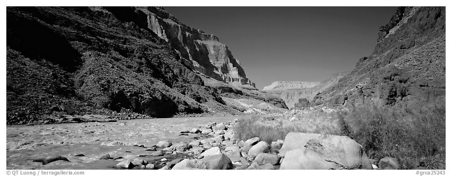 Inner Canyon landscape. Grand Canyon National Park (black and white)