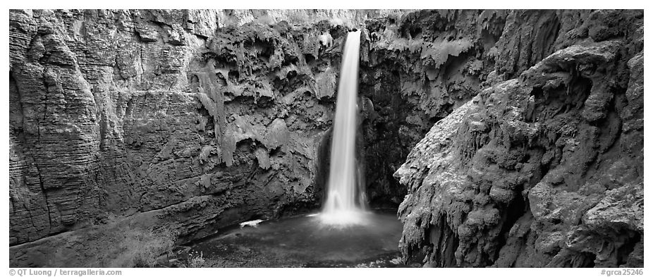 Mooney Fall and turquoise pool. Grand Canyon National Park (black and white)