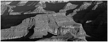 Canyon buttes. Grand Canyon National Park (Panoramic black and white)