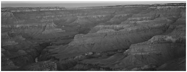 Canyon ridges at dawn. Grand Canyon National Park (Panoramic black and white)