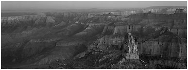 Scenery seen from Point Imperial. Grand Canyon National Park (Panoramic black and white)