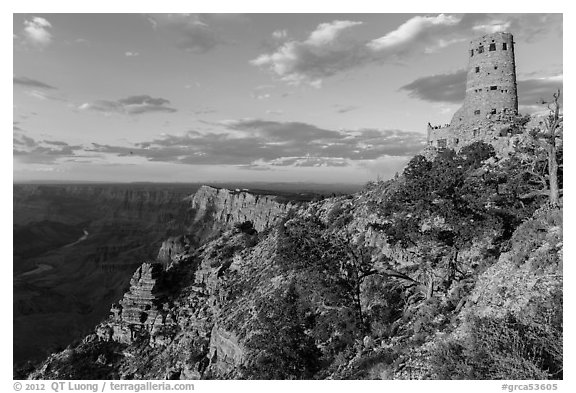 Indian Watchtower and canyon at sunset. Grand Canyon National Park (black and white)