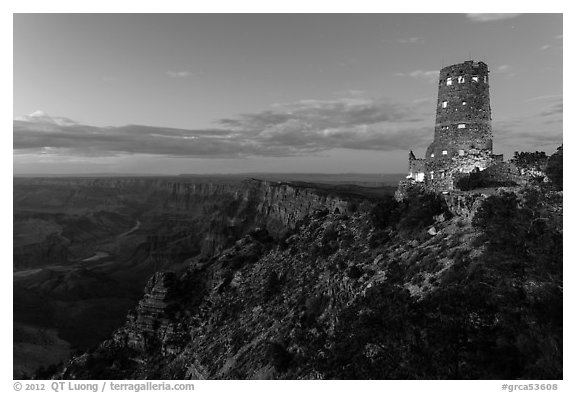 Watchtower and Desert View at dusk. Grand Canyon National Park (black and white)