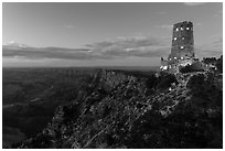 Watchtower and Desert View at dusk. Grand Canyon National Park, Arizona, USA. (black and white)