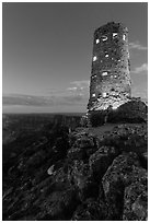 Indian Watchtower at Desert View, dusk. Grand Canyon National Park, Arizona, USA. (black and white)