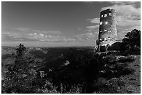 Mary Jane Colter Desert View Watchtower at night. Grand Canyon National Park, Arizona, USA. (black and white)