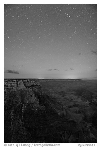 View from Moran Point at night. Grand Canyon National Park (black and white)