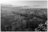 Red Canyon and Colorado gorge from Moran Point. Grand Canyon National Park ( black and white)