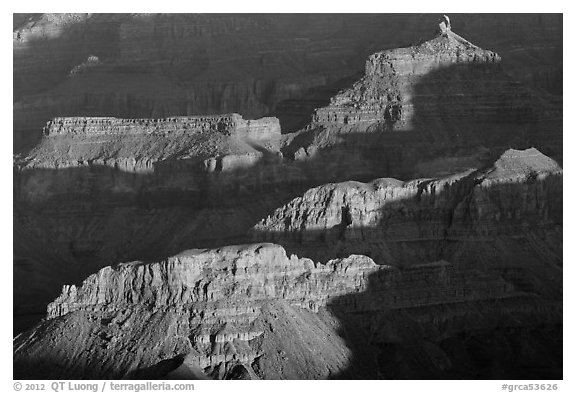 Shadows and ridges from Moran Point. Grand Canyon National Park (black and white)
