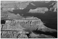 Ridges at sunrise from Moran Point. Grand Canyon National Park, Arizona, USA. (black and white)