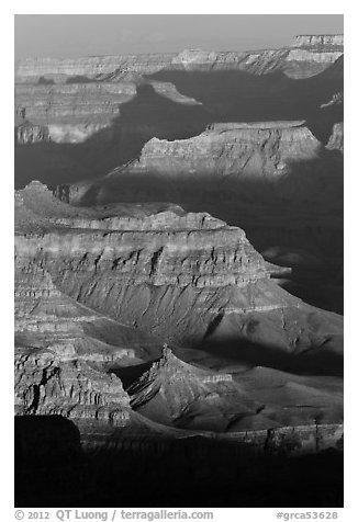 Ridges at sunrise, Moran Point. Grand Canyon National Park (black and white)