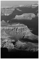 Ridges at sunrise, Moran Point. Grand Canyon National Park, Arizona, USA. (black and white)
