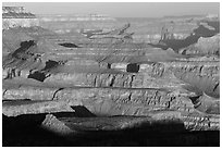 Ridges, Moran Point. Grand Canyon National Park, Arizona, USA. (black and white)