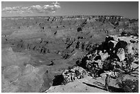 Visitor looking, Moran Point. Grand Canyon National Park, Arizona, USA. (black and white)