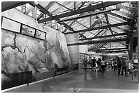 Inside main visitor center. Grand Canyon National Park ( black and white)