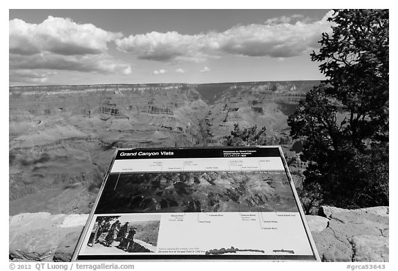 Iinterpretive sign, Mather Point. Grand Canyon National Park (black and white)