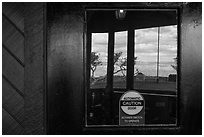 South Rim, El Tovar Hotel window reflexion. Grand Canyon National Park ( black and white)