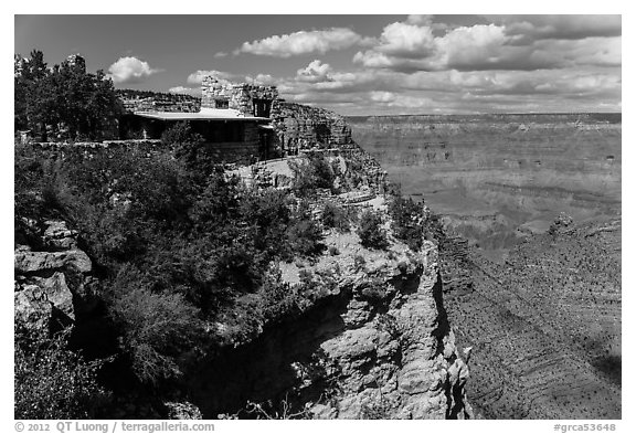 Lookout Studio designed by Mary Coulter to blend with surroundings. Grand Canyon National Park (black and white)
