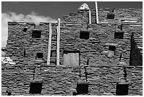 Facade of Hopi House. Grand Canyon National Park, Arizona, USA. (black and white)