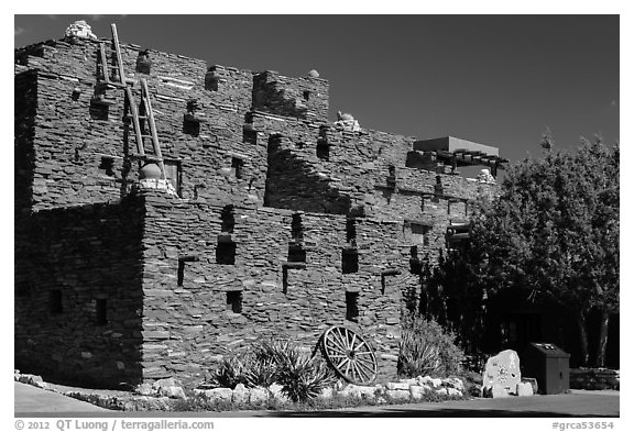 Hopi House in pueblo style. Grand Canyon National Park (black and white)