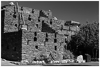 Hopi House in pueblo style. Grand Canyon National Park, Arizona, USA. (black and white)