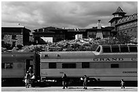 Grand Canyon train and El Tovar Hotel. Grand Canyon National Park, Arizona, USA. (black and white)