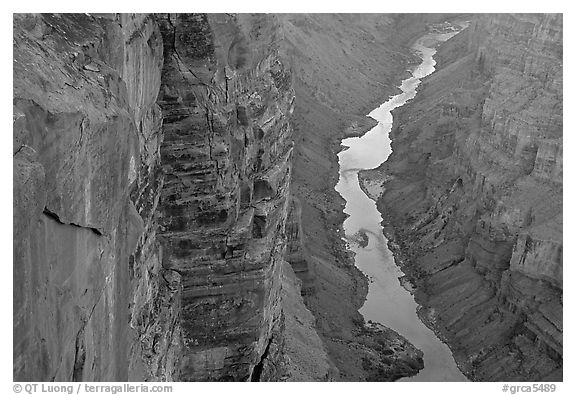 Colorado River and Cliffs at Toroweap, late afternoon. Grand Canyon National Park (black and white)