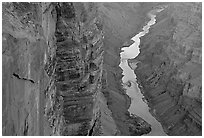 Colorado River and Cliffs at Toroweap, late afternoon. Grand Canyon National Park, Arizona, USA. (black and white)