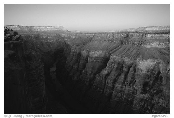 Narrow gorge of  Colorado River at Toroweap, dusk. Grand Canyon National Park (black and white)