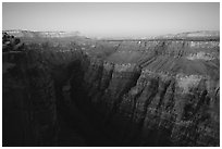 Narrow gorge of  Colorado River at Toroweap, dusk. Grand Canyon National Park ( black and white)