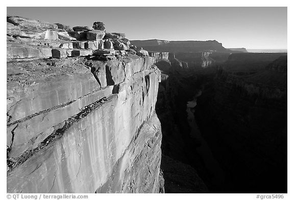 Cliff and Colorado River at Toroweap, sunrise. Grand Canyon National Park (black and white)