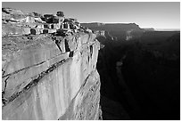 Cliff and Colorado River at Toroweap, sunrise. Grand Canyon National Park, Arizona, USA. (black and white)