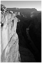 Vertical cliff and Colorado River at Toroweap. Grand Canyon National Park, Arizona, USA. (black and white)