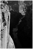 Colorado River and Cliffs at Toroweap, early morning. Grand Canyon National Park ( black and white)